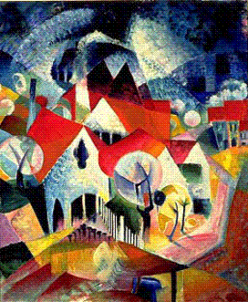 Group of Houses in Spring - small